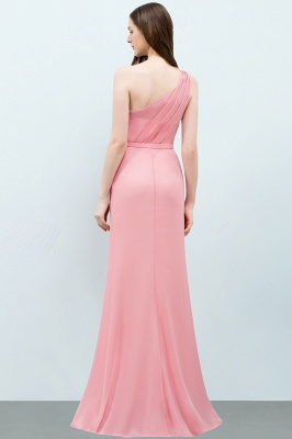 Sexy Trumpt Floor Length One-shoulder Ruffled Chiffon Bridesmaid Dresses UK with Flower_3