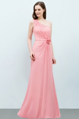 Sexy Trumpt Floor Length One-shoulder Ruffled Chiffon Bridesmaid Dresses UK with Flower_8