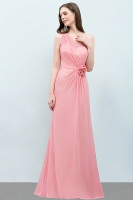 Sexy Trumpt Floor Length One-shoulder Ruffled Chiffon Bridesmaid Dresses UK with Flower_5