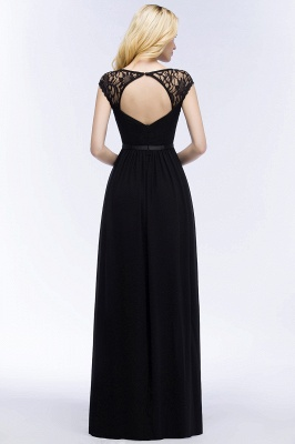 Summer V-neck Floor Length Lace Chiffon Bridesmaid Dresses UK with Sash_6