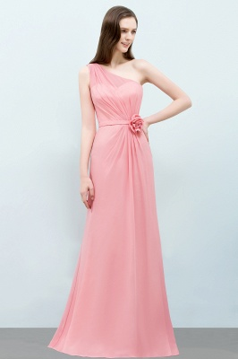 Sexy Trumpt Floor Length One-shoulder Ruffled Chiffon Bridesmaid Dresses UK with Flower_4