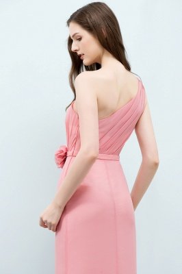 Sexy Trumpt Floor Length One-shoulder Ruffled Chiffon Bridesmaid Dresses UK with Flower_9