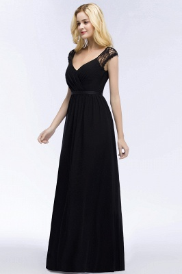 Summer V-neck Floor Length Lace Chiffon Bridesmaid Dresses UK with Sash_12