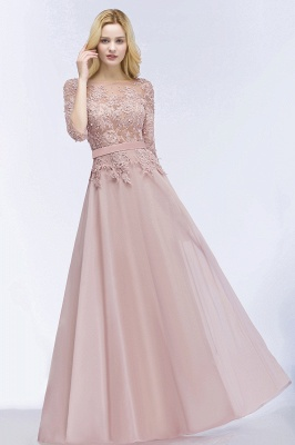 Summer Floor Length Half Sleeves Appliques Bridesmaid Dresses UK with Sash_5
