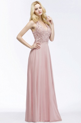 Summer V-neck Sleeveless Long Appliques Chiffon Bridesmaid Dresses UK_1