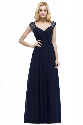 Summer V-neck Floor Length Lace Chiffon Bridesmaid Dresses UK with Sash_3