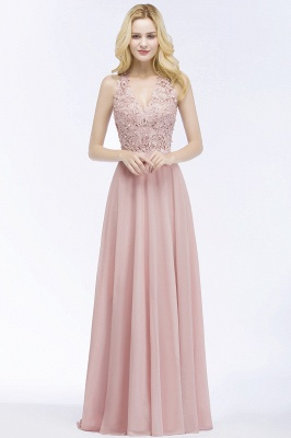 Summer V-neck Sleeveless Long Appliques Chiffon Bridesmaid Dresses UK_5