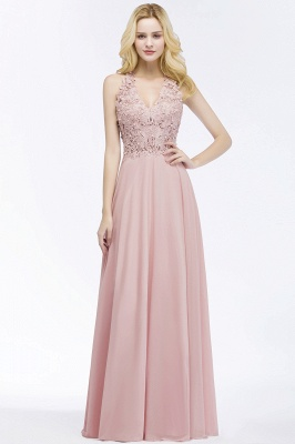 Summer V-neck Sleeveless Long Appliques Chiffon Bridesmaid Dresses UK_6