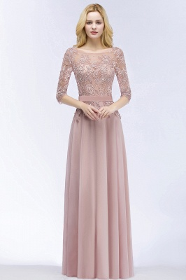 Summer Floor Length Half Sleeves Appliques Bridesmaid Dresses UK with Sash_4
