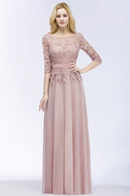 Summer Floor Length Half Sleeves Appliques Bridesmaid Dresses UK with Sash_1