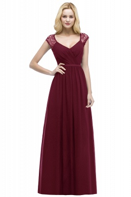 Summer V-neck Floor Length Lace Chiffon Bridesmaid Dresses UK with Sash_1