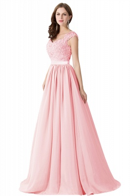 Summer V Neck Chiffon Bridesmaid Dress with Appliques_2