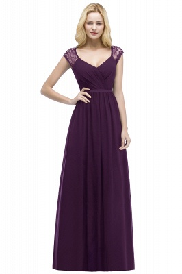 Summer V-neck Floor Length Lace Chiffon Bridesmaid Dresses UK with Sash_2