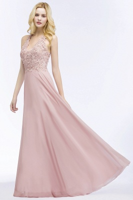 Summer V-neck Sleeveless Long Appliques Chiffon Bridesmaid Dresses UK_7