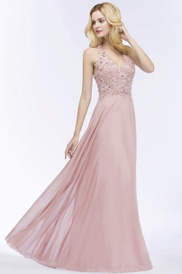 Summer V-neck Sleeveless Long Appliques Chiffon Bridesmaid Dresses UK_8