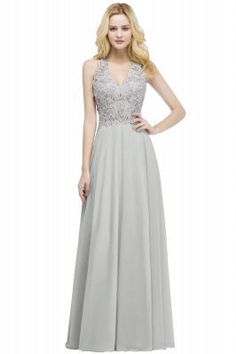Summer V-neck Sleeveless Long Appliques Chiffon Bridesmaid Dresses UK_3
