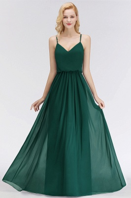 Summer Floor Length V-neck Spaghetti Chiffon Bridesmaid Dresses UK_7