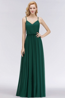 Summer Floor Length V-neck Spaghetti Chiffon Bridesmaid Dresses UK_8
