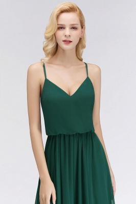 Summer Floor Length V-neck Spaghetti Chiffon Bridesmaid Dresses UK_6