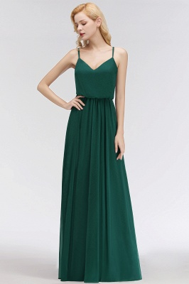 Summer Floor Length V-neck Spaghetti Chiffon Bridesmaid Dresses UK_5