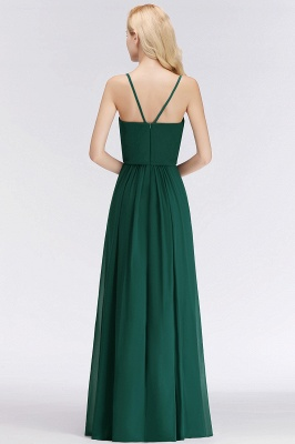 Summer Floor Length V-neck Spaghetti Chiffon Bridesmaid Dresses UK_3