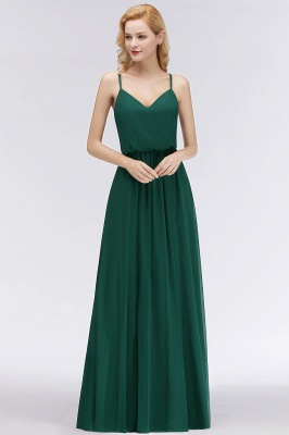 Summer Floor Length V-neck Spaghetti Chiffon Bridesmaid Dresses UK_4