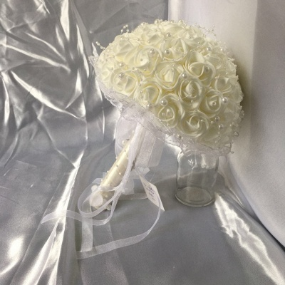 Silk Ivory Rose Wedding Bouquet UK with Lace ribbons_7