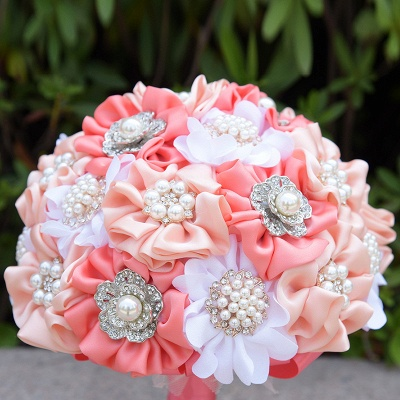 Silk Rose Pearls Wedding Bouquet UK in Three Tune Colors_5