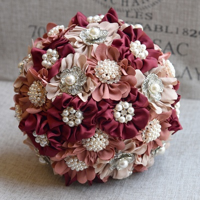 Silk Rose Pearls Wedding Bouquet UK in Three Tune Colors_2