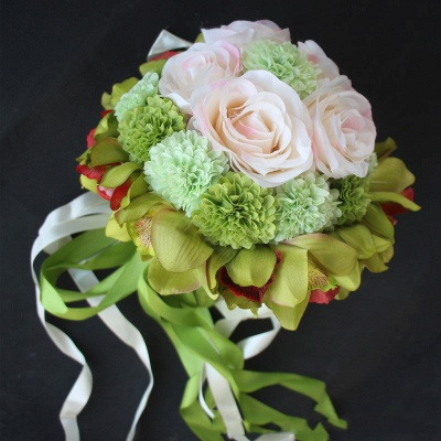 Silk Rose Artificial Orchid and Marigold Wedding Bouquet UK_6