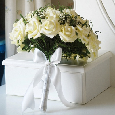 Silk Rose Wedding Bouquet UK in Ivory with Ribbons_2