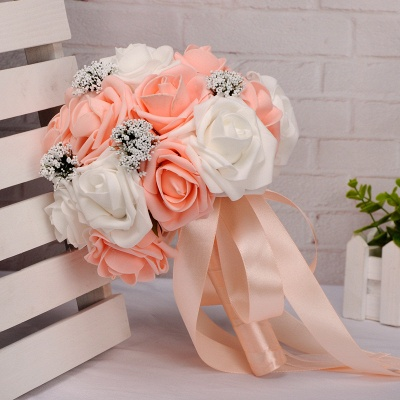 Two Colors Silk Flowers Wedding Bouquet UK with Ribbon_6