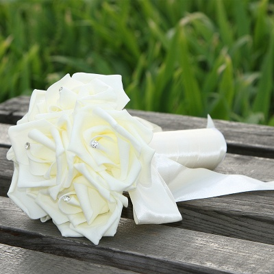 Simple Silk Rose Wedding Bouquet UK in Multiple Colors