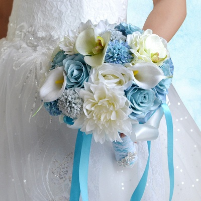 Artificial Camomile and Lily Wedding Bouquet UK in Blue and White_6