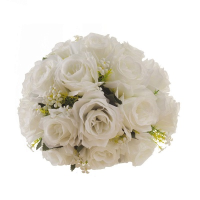 White Rose Artificial Wedding Bouquet UK with Handle_6