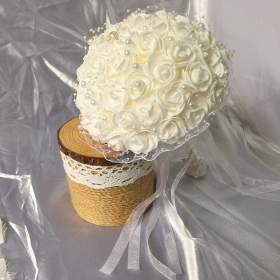 Silk Ivory Rose Wedding Bouquet UK with Lace ribbons_5