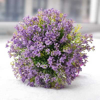 Elegant Real Touch Artificial Lavender Wedding Bouquet UK_1
