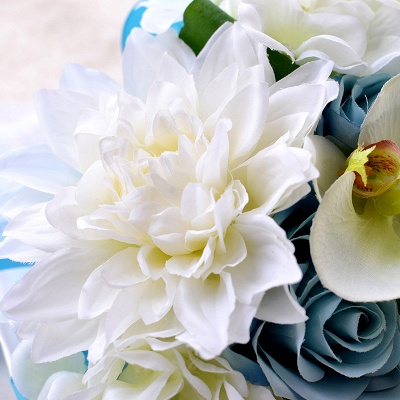 Artificial Camomile and Lily Wedding Bouquet UK in Blue and White_4