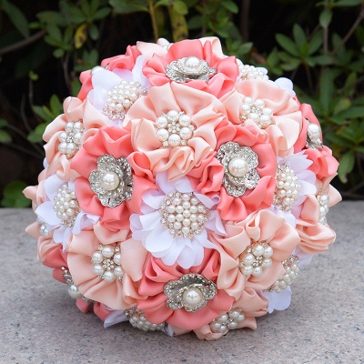 Silk Rose Pearls Wedding Bouquet UK in Three Tune Colors_4