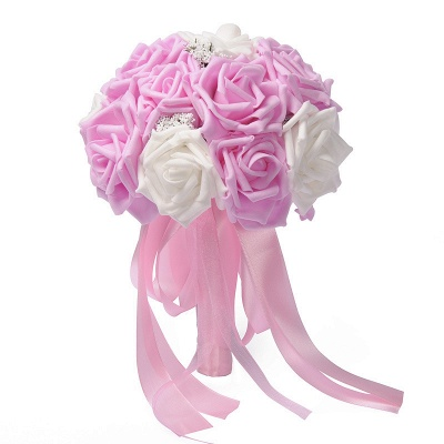 Two Colors Silk Flowers Wedding Bouquet UK with Ribbon_1