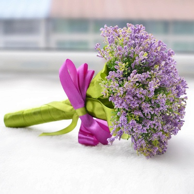 Elegant Real Touch Artificial Lavender Wedding Bouquet UK_3