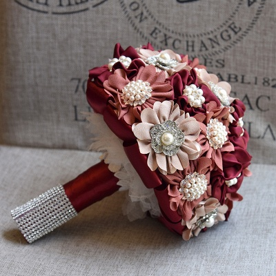Silk Rose Pearls Wedding Bouquet UK in Three Tune Colors_7