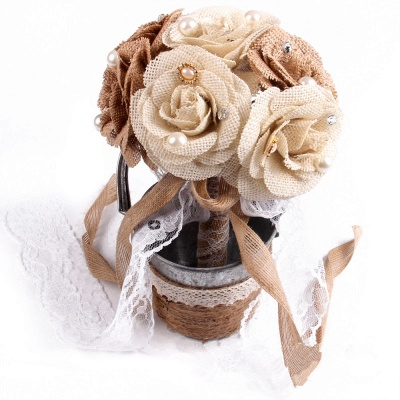 Brown Online Bouquet for Wedding with ribbon strings