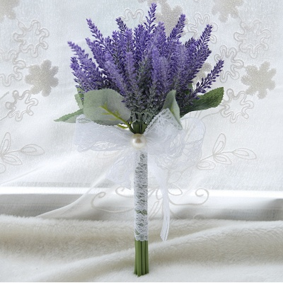 Real Touch Sage Flowers Bouquet with Lace Ribbon_3