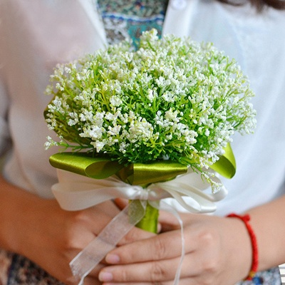 Green Babysbreath Real Touch Wedding Bouquet UK_1