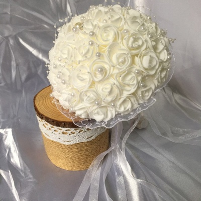 Silk Ivory Rose Wedding Bouquet UK with Lace ribbons_4