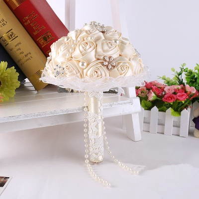 Elegant Pearls Lace Silk Rose Online Bouquet for Wedding