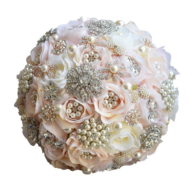 Shiny Crystal Beading Silk Rose Wedding Bouquet UK in White and Pink_5