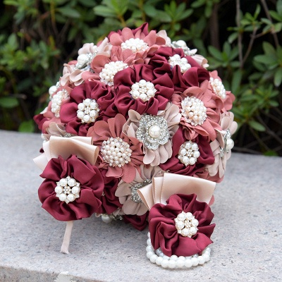 Silk Rose Pearls Wedding Bouquet UK in Three Tune Colors_9