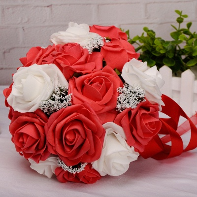 Two Colors Silk Flowers Wedding Bouquet UK with Ribbon_3
